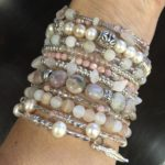 Moonstone, silver and freshwater pearl 12 wrap memory wire