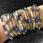 Lapis, citrine, jade and silver 12 wrap memory wire